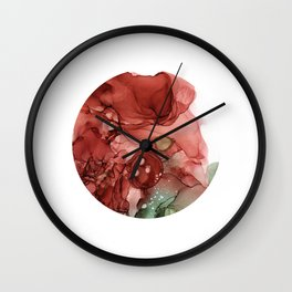 Round Alcohol Ink Painting Wall Clock
