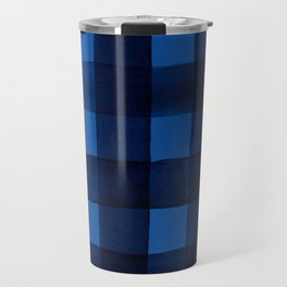 Buffalo Plaid Watercolor in Blue Travel Mug