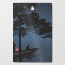 Boat with Lantern Beneath Shubi Pine Cutting Board