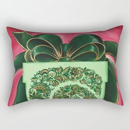 Gift box with an atlas bow in petrykivka style Rectangular Pillow