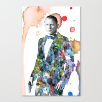 james bond Canvas Prints featuring Bond, James Bond by NKlein Design