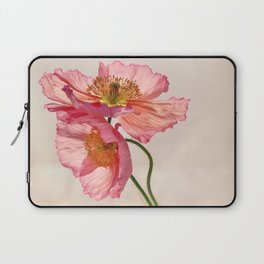 Like Light through Silk - peach / pink translucent poppy floral Laptop Sleeve