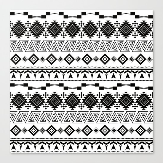Aztec black white pattern. Canvas Print