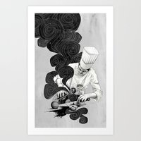 chef Art Prints featuring Galactic Chef by Kyle Cobban