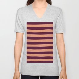 Plum and Peach Stripes Pattern Unisex V-Neck