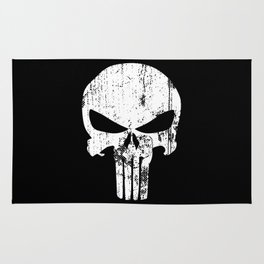 The Punisher Logo Black Background Rug