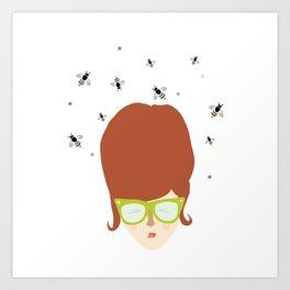 Retro lady with a beehive hairdo Art Print