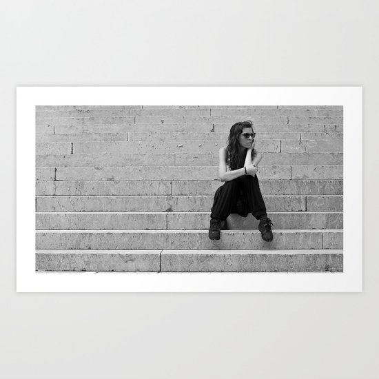 The girl on the stairs Art Print