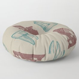 Skull and Teeth Pattern // Anatomy // Human Bones // Red and Blue Punk Rock Pattern Floor Pillow