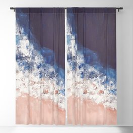 Abstract paintings ocean, pink navy, ink blue Blackout Curtain