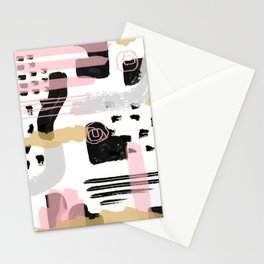 Mosaic Abstract Pink, Black Stationery Cards