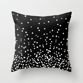 Floating Dots - White on Black Throw Pillow