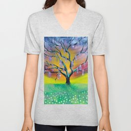 Entanglement, colorful tree landscape, beautiful landscape, cypress tree Unisex V-Neck