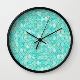 Luxury Aqua Teal and Gold oriental quatrefoil pattern Wall Clock