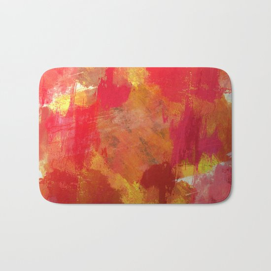 Fight Fire With Fire - Textured Metallic Abstract in red, white, black, orange and yellow Bath Mat