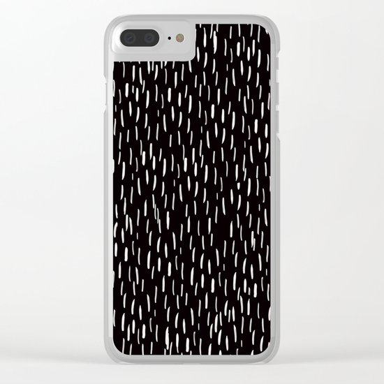 Abstract white Rain Lines Pattern on Black-Mix and Match with Simplicity of Life Clear iPhone Case
