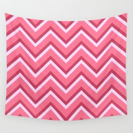 Pink Zig Zag Pattern Wall Tapestry