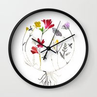 drum Wall Clocks featuring Calico Drum by Ellie Knight Design & Illustration