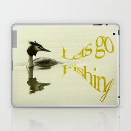 Lets go Fishing, grebe reflecting on water with text. Laptop & iPad Skin