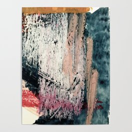 Kelly: a bold, textured, abstract mixed media piece in bright pinks, blues, and white Poster