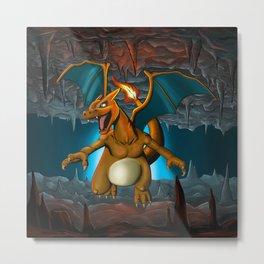 Charizard Cave Dragon Metal Print