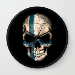 Dark Skull with Flag of Finland Wall Clock
