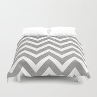 gray Duvet Covers featuring gray chevron by her art