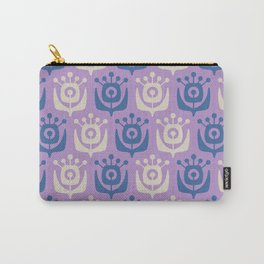 Mid Century Modern Retro Flower Pattern Lavender and Blue 931 Carry-All Pouch