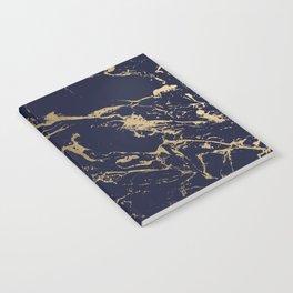 Modern luxury chic navy blue gold marble pattern Notebook