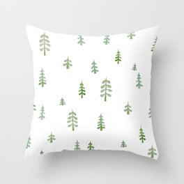 Watercolor pine trees Throw Pillow