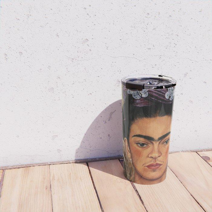 Frida Kahlo's Self Portrait with Sloth Travel Mug
