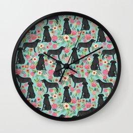 Labrador Retriever black lab floral dog breed gifts pet patterns florals black labs Wall Clock