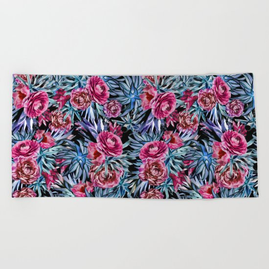 The floral pattern . pink and blue Beach Towel