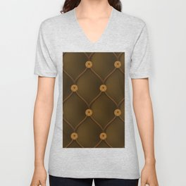 Studded chocolate brown furniture leather Unisex V-Neck