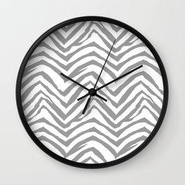 Chevron stripes zebra pattern minimal grey and white basic pattern nursery home decor Wall Clock