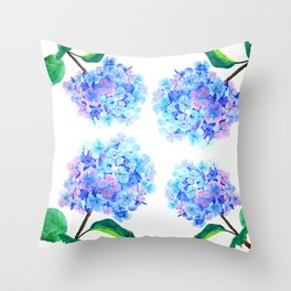 blue purple hydrangea Throw Pillow