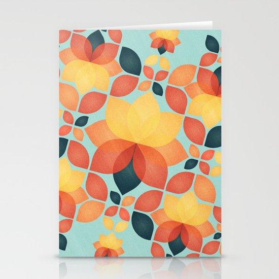 Orange Garden Pattern Stationery Cards