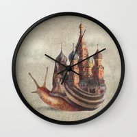 bruce springsteen Wall Clocks featuring The Snail's Daydream by Eric Fan