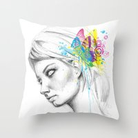 butterflies Throw Pillows featuring Butterflies by Olechka