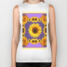 Golden Sunflowers Modern Art Purple Design Biker Tank