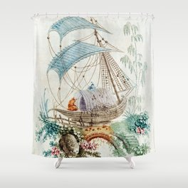 Chinoiserie Embroidery Shower Curtain