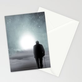 Old Man Walking Towards Heaven Stationery Cards