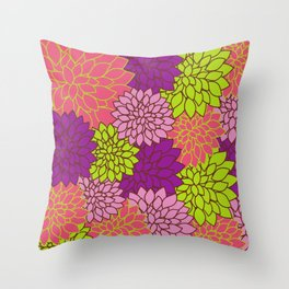 Dahlia Flowers, Blossoms - Pink Purple Green Throw Pillow