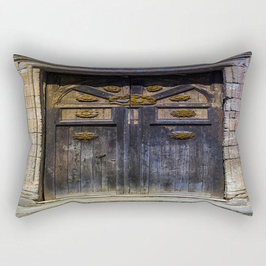 Old brown door Rectangular Pillow