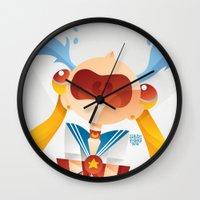 sailormoon Wall Clocks featuring Crying Sailor Moon by Claudio Bandoli