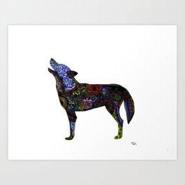 Multicolor Henna-Inspired Wolf Art Print