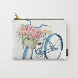 Blue Bicycle with Flowers in Basket Carry-All Pouch