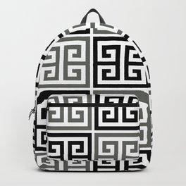 Gray Black And White Greek Key Pattern Backpack