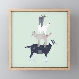 Goat Stack Framed Mini Art Print