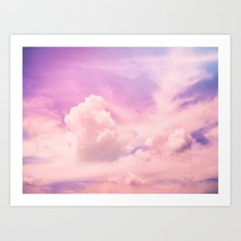 Pink And Purple Fluffy Colorful Clouds Cotton Candy Texture Art Print
